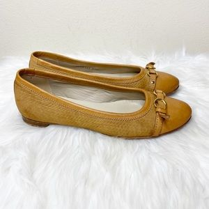 AGL Brown Leather Slip On Woven Flats 7.5